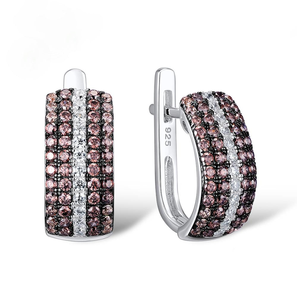 Sterling Silver Chocolate CZ Broad Hoops