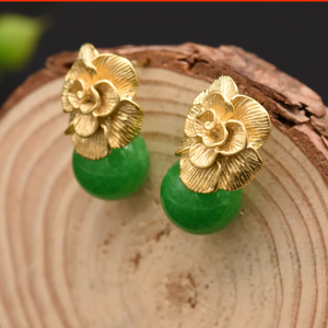 Handmade 92.5 Sterling Silver Jade Studs / Earrings - Enumu