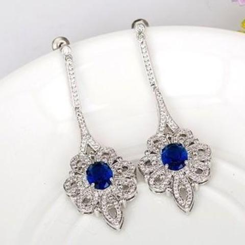 Blue Sapphire Swiss CZ Dangle Earrings - Enumu