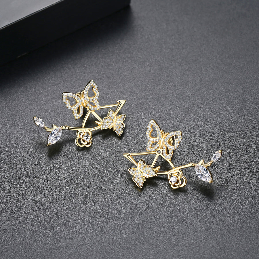 Butterfly Leaves Designer Studs - Enumu