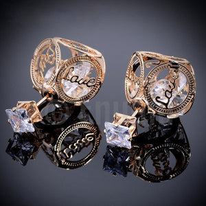 Double Side Love CZ Stud Earrings - Enumu