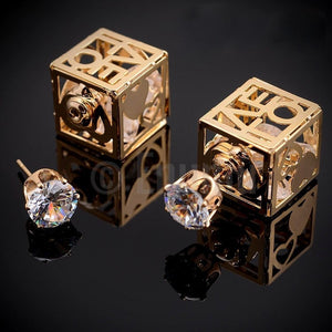Double Side Love Square and Stud Earrings - Enumu
