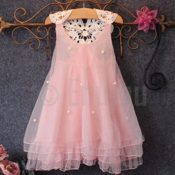 Light Pink Lace Dress - Enumu  - 1