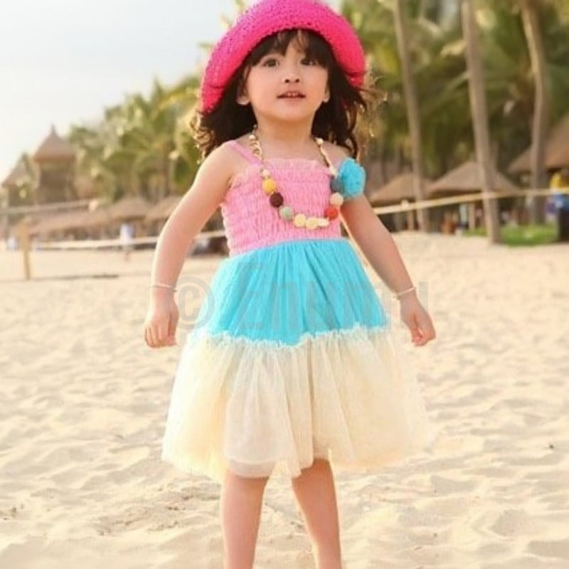 Tri Color Pink and Blue Frill Dress - Enumu  - 1