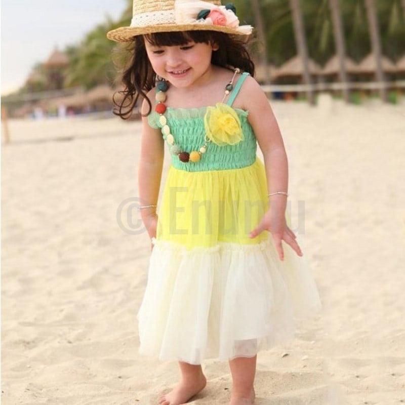 Tri Color Green and Yellow Frill Dress - Enumu