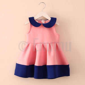 Coral and Navy Blue Dress - Enumu