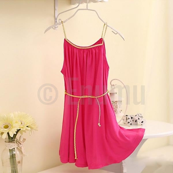 Dark Pink Cotton Dress - Enumu