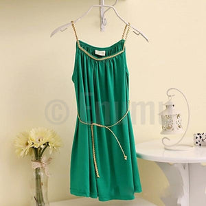 Dark Green Cotton Dress - Enumu