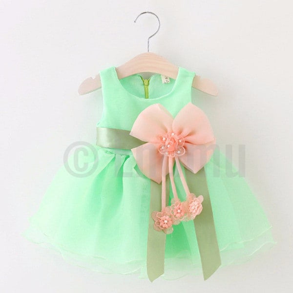 Light Green Big Flower Dress - Enumu