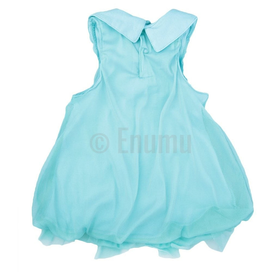Blue Sleeveless Cotton and Net Dress - Enumu