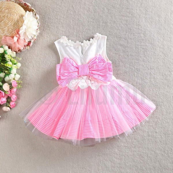 Pink and Bow Net Dress - Enumu  - 1