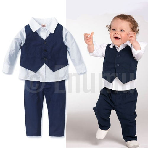 Full Sleeve Shirt and Vest 3 Pc Formal Black Baby Boy/ Toddler set - Enumu