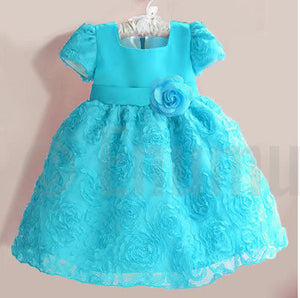 Baby Girl Rosette Blue Dress ( Sizes 1, 2 available) - Enumu