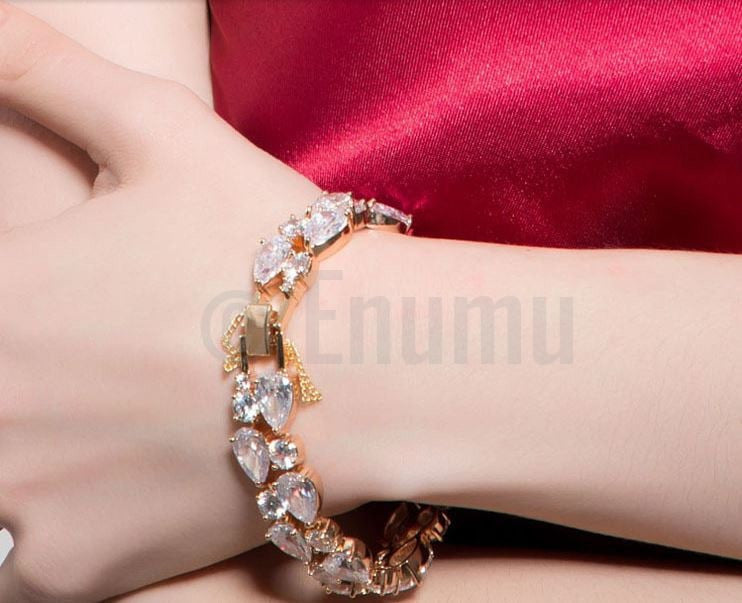 White Stone Grand wedding Bracelet - Enumu