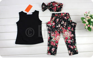 Black Top and Pant set with Hair Band - Enumu