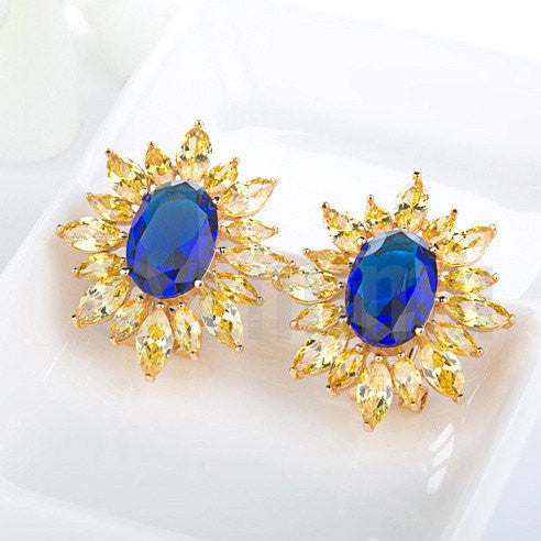 Super Big Blue and Yellow Stud Earrings - Enumu  - 1