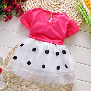 Dark Pink Polka Dot Baby Dress - Enumu