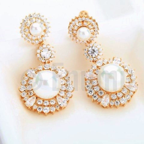 Pearl and Swiss Zircon Dangle Earrings - Enumu  - 1