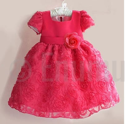 Baby Girl Rosette Red Dress ( Sizes 1, 2 ,3) - Enumu