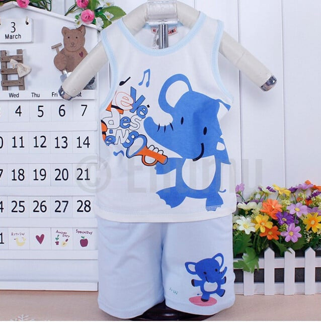 T-shirt and Pant Elephant Toddler Boys set - Enumu