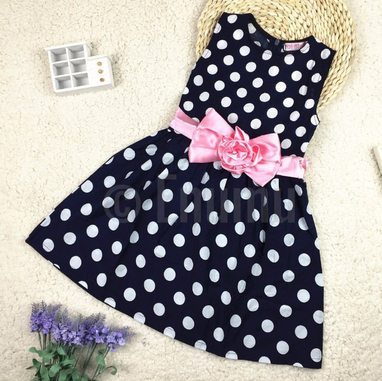 Black Polka Dot Pink Bow Dress - Enumu