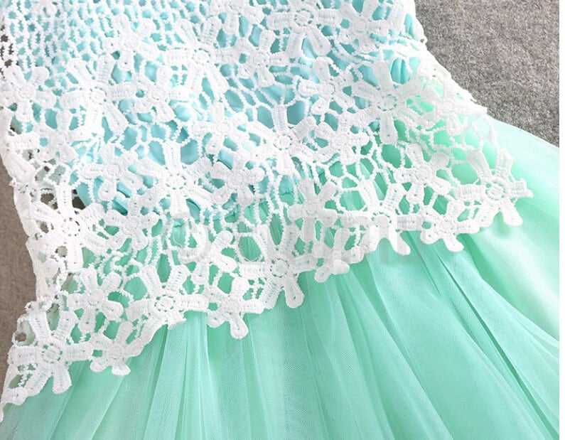 Sea Green Lace and Net Dress (Size 3 - 9 Yrs) - Enumu