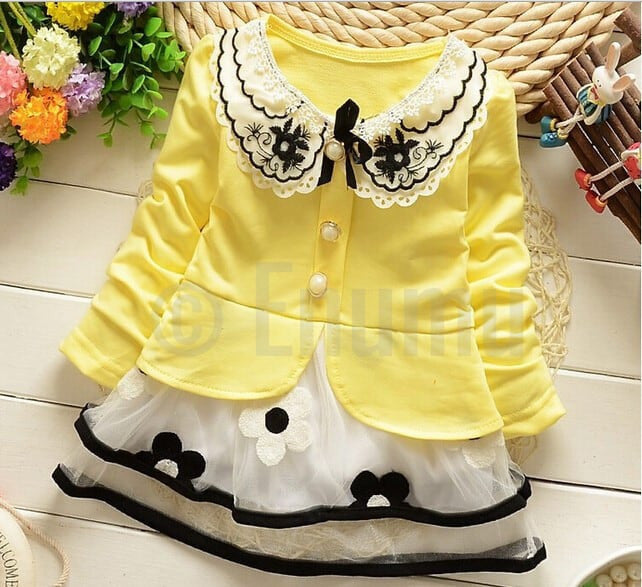 Yellow Lace Dress - Enumu  - 1