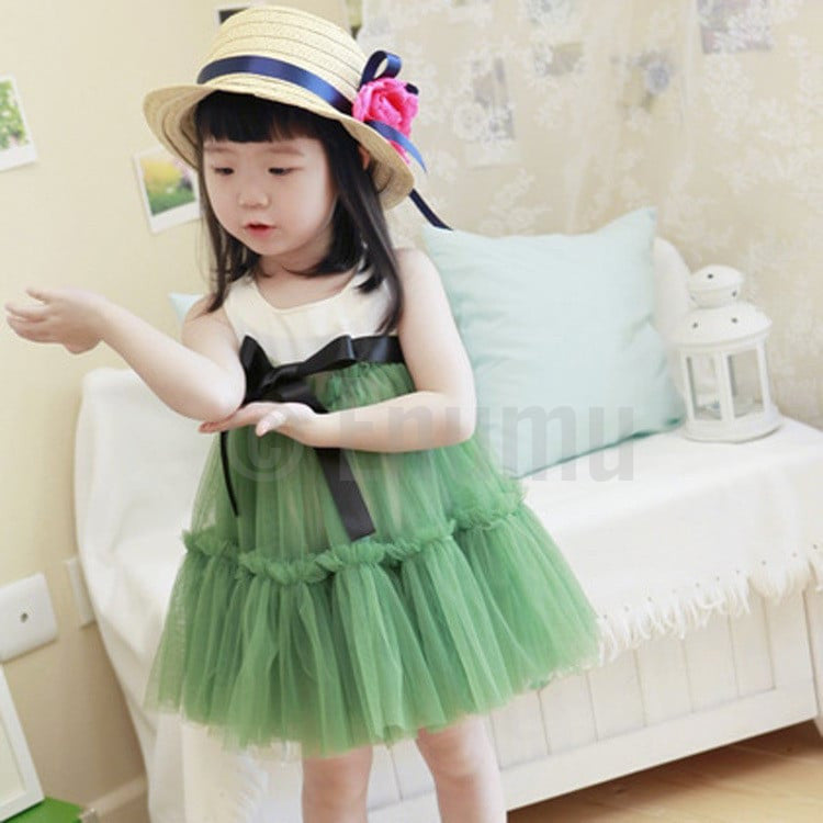 White Cotton Top and Green Net Dress - Enumu