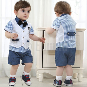 Half Sleeve Shirt and Vest 3 Pc Toddler Boys set - Enumu