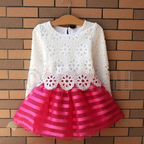 Full Sleeves White and Pink Dress - Enumu