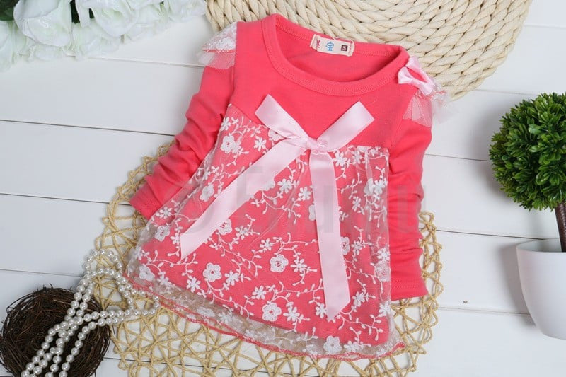 Baby Girl Dark Coral Dress - Enumu