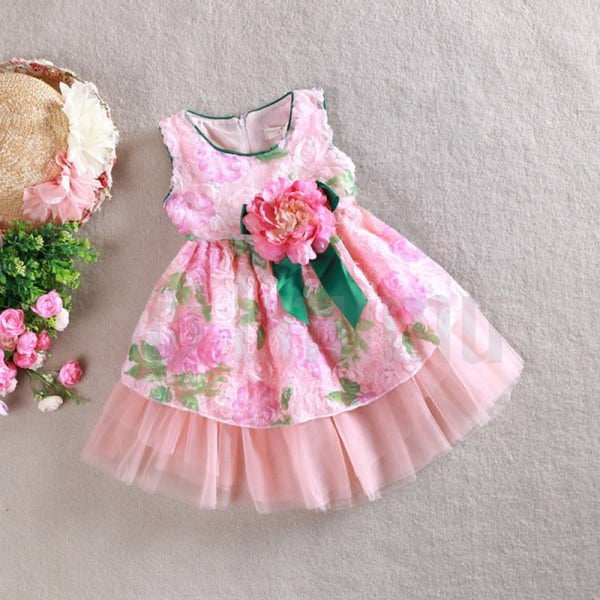 Rose Pink and Green Flower Dress - Enumu