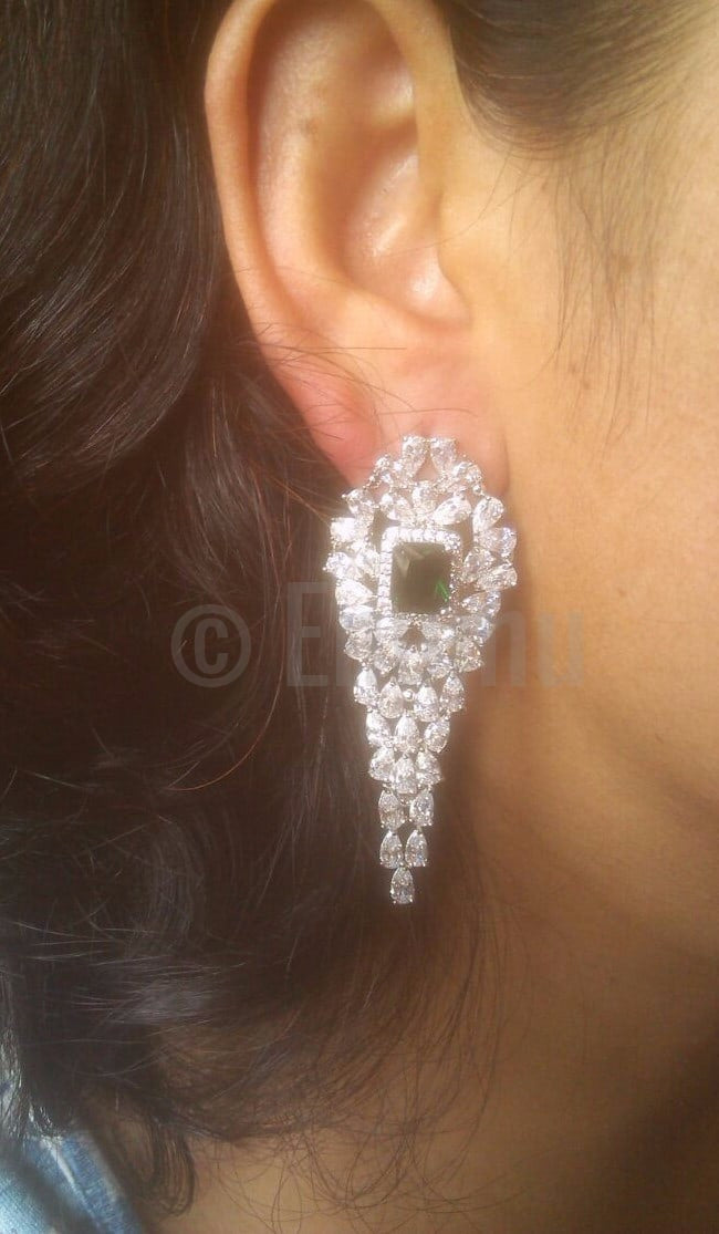 Big Diamond imitation Emerald and Swiss Zircon Dangle Earrings - Enumu