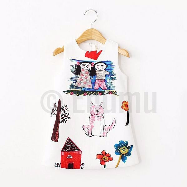 Italian Runway Cartoon Paint Fun Dress - Enumu  - 1