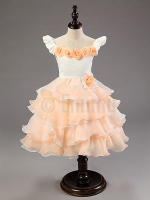 Peach White Rose Multi Layer /Frill Dress - Enumu
