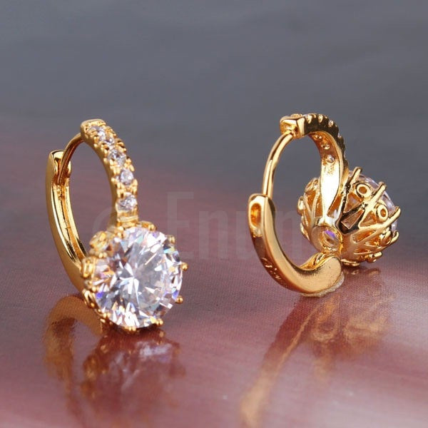 Yellow Gold plated Cubic Zirconia Hoop Earrings - Enumu