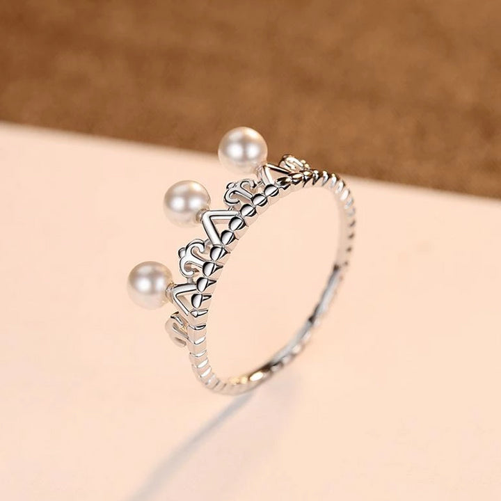 92.5 Sterling Silver Pearl Crown Ring - Enumu