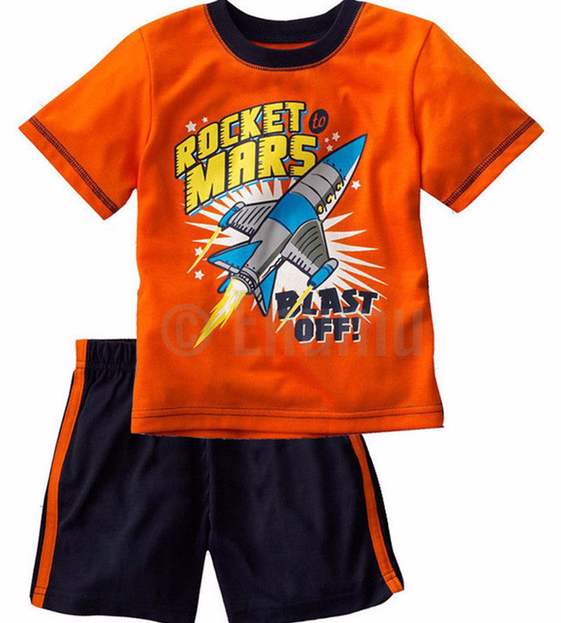 Short Sleeve T-shirt and Pant Rocket Mars Toddler Boys set - Enumu