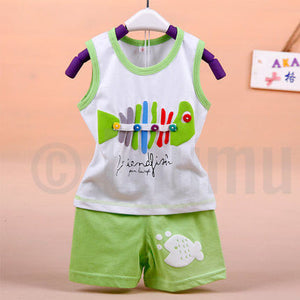 T-shirt and Pant Light Green Baby Boys set - Enumu