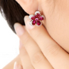 Pure 92.5 Sterling Silver 5.24 Ct Ruby Flower Studs