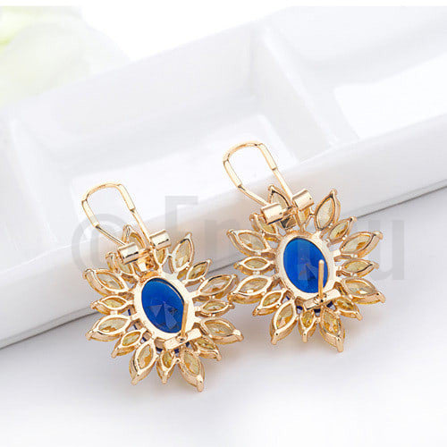 Super Big Blue and Yellow Stud Earrings - Enumu