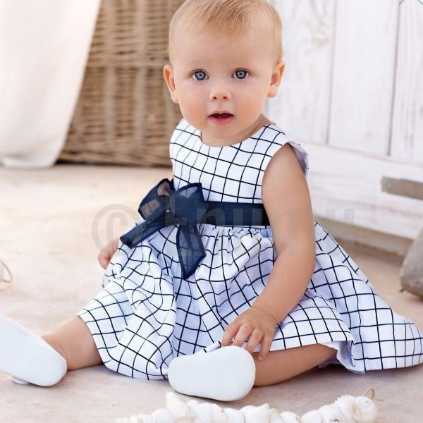White and Blue Checks Dress ( Size 0,1,2,3 years) - Enumu