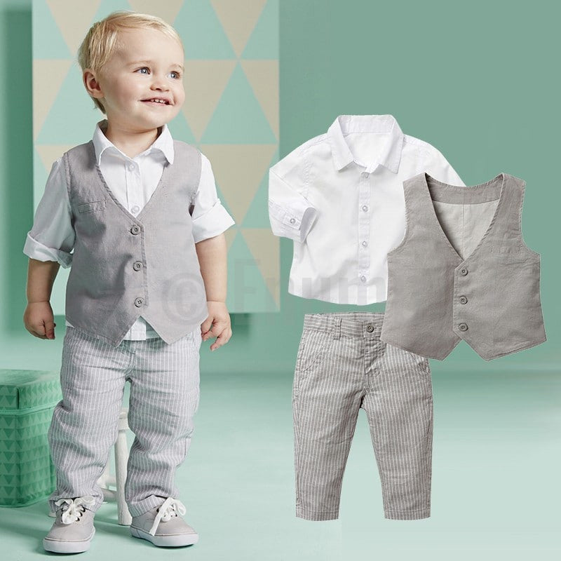 Full Sleeve Shirt and Vest 3 Pc Toddler Boys set - Enumu