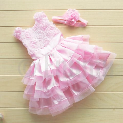 Light Pink Rose Baby Girl Multi Layer/Frill Dress - Enumu