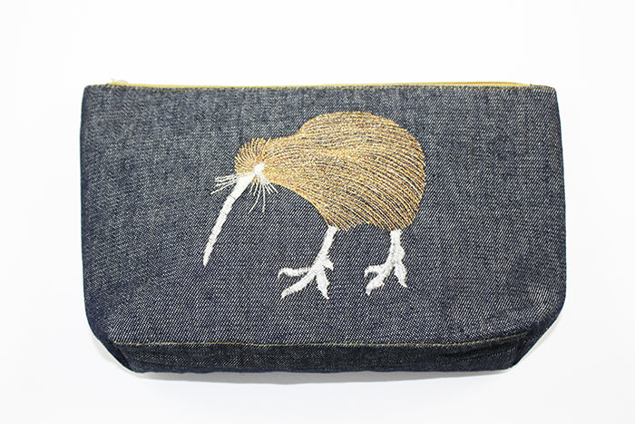 Denim Kiwi  Metallic thread Cosmetic Bag