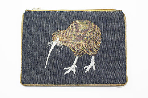 Pouch Denim w/ Kiwi metallic thread