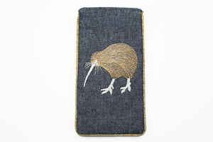 Denim Kiwi  Metallic thread Glasses Case