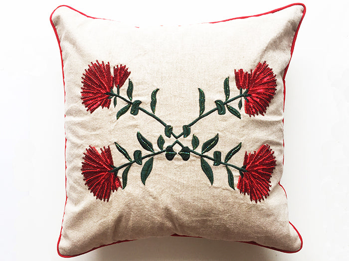 Pohutukawa Linen Cushion 45x45 / Cover Only