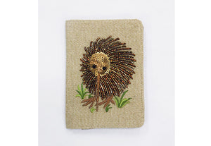 Kiwi Beaded Passport on Linen Chambray