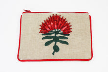 Pohutukawa Single Flower Pouch Linen